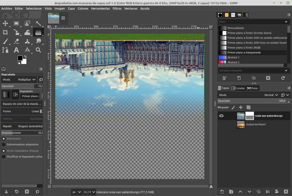 Degradado en GIMP, usando máscara de capa