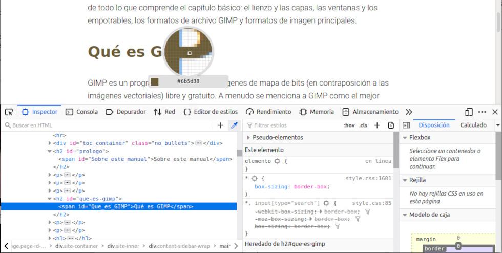 Obtener el código de un color con la herramienta Inspector de Mozilla Firefox