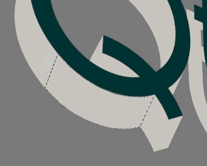 """Creación de texto en 3D en GIMP. Seleccionar áreas con la herramienta """"Selección libre"""""""